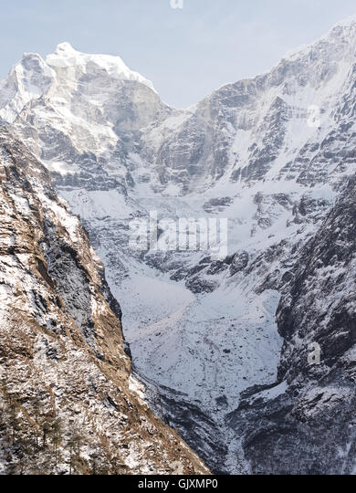 Snow covered mountains near Tengboche, Nepal. Part of Everest Base Camp - Stock Image