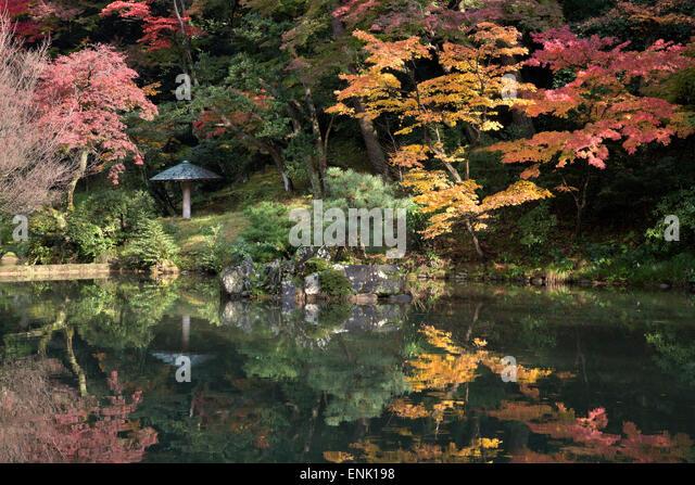 Autumn colours reflected in Hisagoike pond, Kenrokuen Garden, Kanazawa, Ishikawa Prefecture, Central Honshu, Japan, - Stock Image