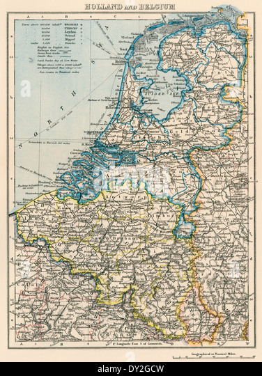 Map of the Netherlands and Belgium, 1870s. - Stock Image