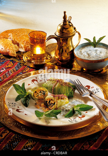 Oriental stuffed cabbage, Lebanon, recipe available for a fee - Stock Image