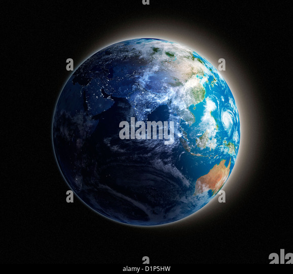 Asia, night-day artwork - Stock Image