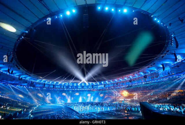 The Maracana Stadium is illuminated during the Opening Ceremony of the Rio 2016 Paralympic Games, Rio de Janeiro, - Stock-Bilder