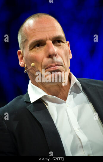 Yanis Varoufakis former finance minister of Greece speaking on stage at Hay Festival 2016 - Stock Image