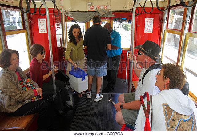 Louisiana New Orleans Regional Transit Authority RTA public transportation Riverfront Streetcar Line tram trolley - Stock Image