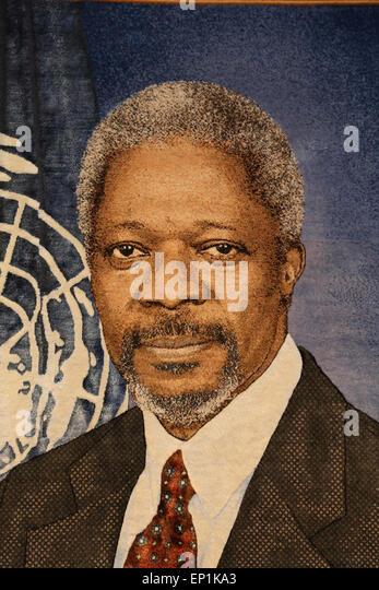 Kofi Annan (b. 1938). Ghanaian diplomat. 7th Secretary-General of the United Nations, 1997-2006. Tapestry. Headquaters - Stock Image