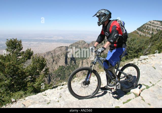 Albuquerque New Mexico Sandia Peak ft. mountain biker near crest W - Stock Image