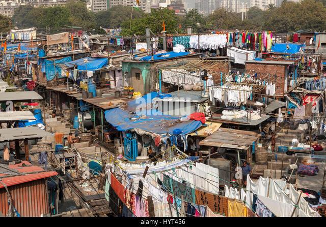 Mahalaxmi Dhobi Ghat, open air laundromat, Mumbai, India - Stock Image