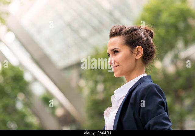 businesswoman at Broadgate Tower, London, UK - Stock Image