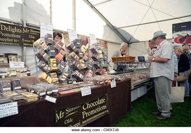 Mr Simms chocolate promotions at Ludlow food festival, Shropshire, UK. - Stock Image