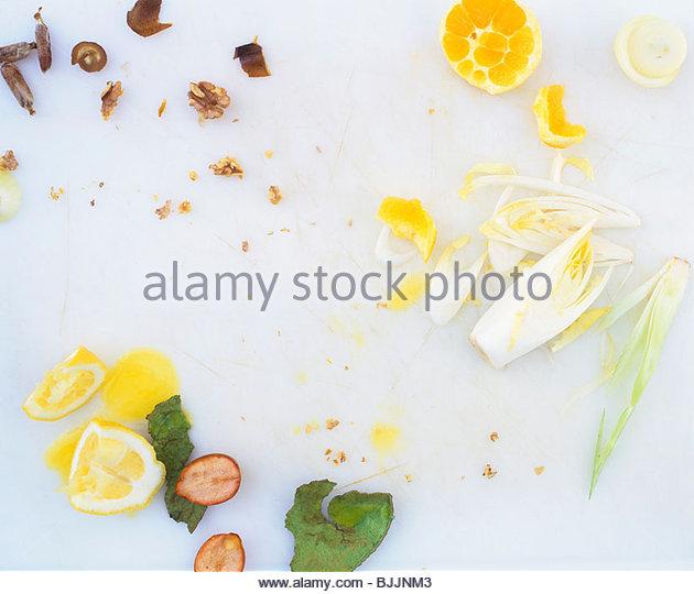 Remains of chicory & orange salad and walnut & date dressing - Stock Image