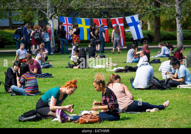 Melbourne Australia Victoria Carlton Parkville University of Melbourne campus school South Lawn student Asian man - Stock Image