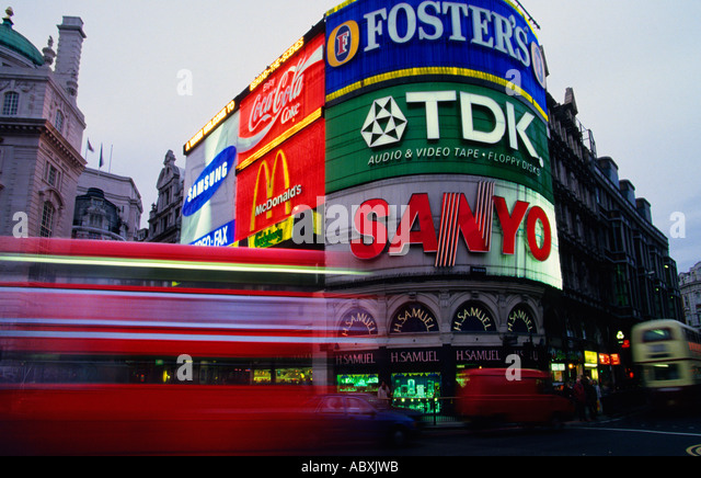 England Great Britain United Kingdom London UK Piccadilly Circus Double Decker Bus Europe - Stock Image