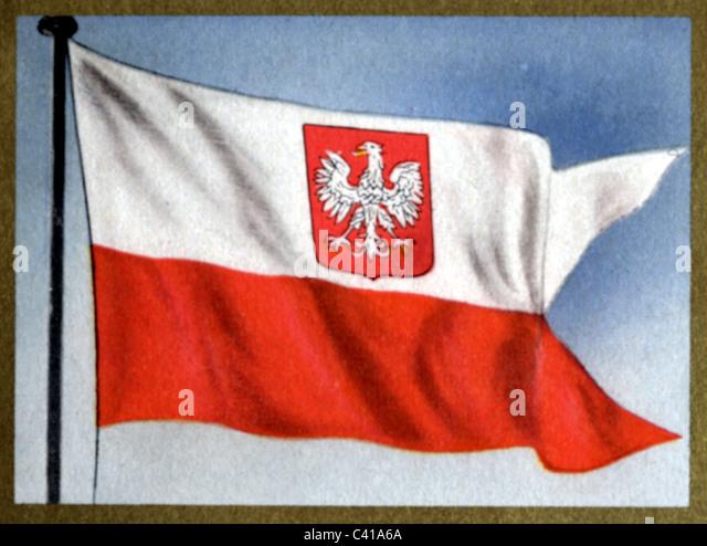 flags, Poland (republic), battle flag, 1919 - 1939 and since 1956, colour print, 1950s, 50s, standard, coat of arms, - Stock-Bilder