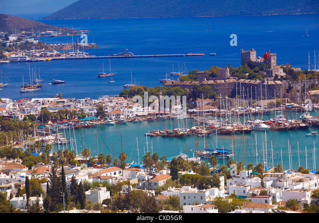 The harbour and the castle of St. Peter, Bodrum, Anatolia, Turkey, Asia Minor, Eurasia - Stock Image