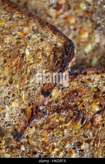 close up of roasted rye bread. baked, sliced, grain, food. - Stock-Bilder