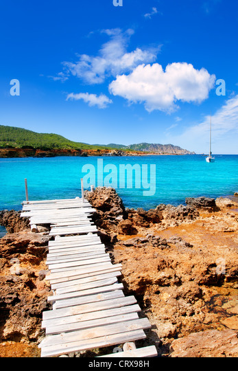 Ibiza Canal d en Marti Pou des Lleo beach in balearic islands of Mediterranean sea - Stock-Bilder