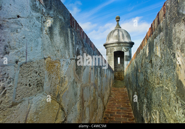Puerto Rico,Old San Juan,El Morro Fortress,Sentry post - Stock Image