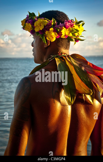 Fijian Fire Dancer performing at the Shagri-La Resort. Coral Coast, Viti Levu Island, Fiji - Stock Image