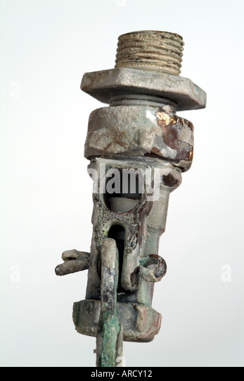 corroded ball value after years of use in water tank - Stock Image