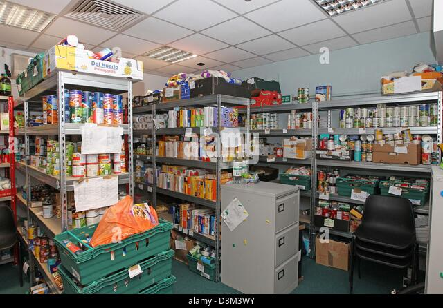 File Pics: London, UK. 26th March 2013. Southwark Foodbank store room where food is kept before being bagged up - Stock Image