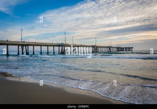 The pier in Venice Beach, Los Angeles, California. - Stock Image