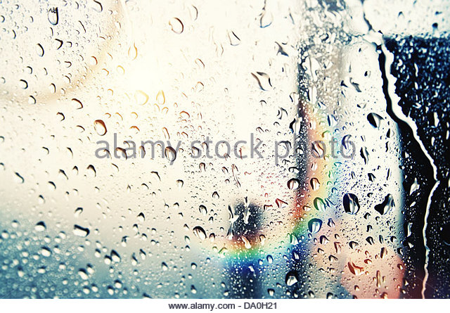 sun and raindrops - Stock Image