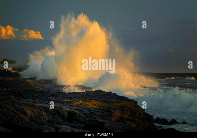 Storm wave at sunset on Hawaii The Big Island - Stock Image
