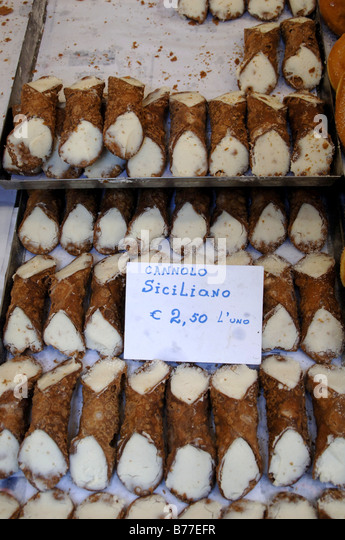 cannolo siciliano in a street market Milan - Stock Image