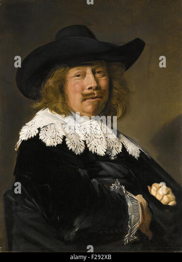 Frans Hals - Portrait of a gentleman, half length in black with lace collar and cuffs, and wearing a broad brimmed - Stock Image
