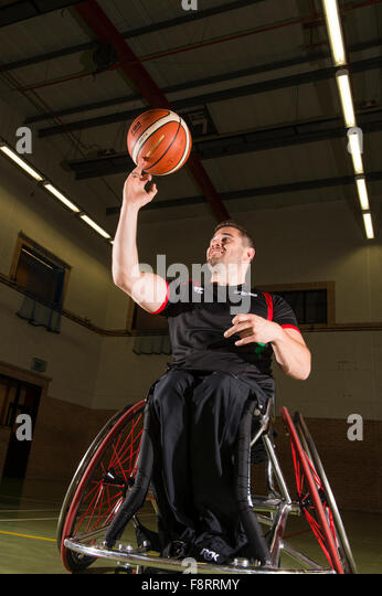 Rhys Lewis, disabled, wheelchair using welsh sports basketball player, athlete, Wales UK - Stock Image