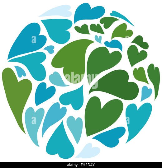 Planet earth built out of hearts. Symbol of peace. Africa in the center. - Stock Image