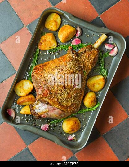 Roast leg of lamb with rosemary - Stock Image