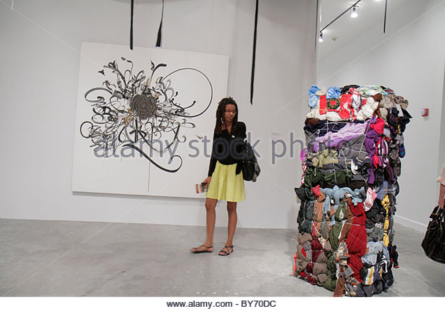 North Miami Florida MOCA Museum of Contemporary Art Black teen female student - Stock Image