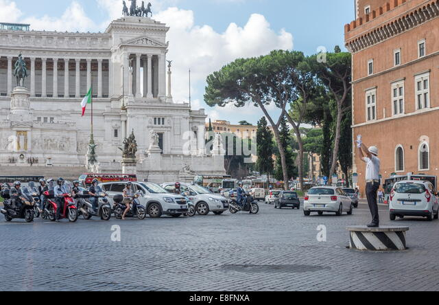 Traffic police in Rome - Stock Image