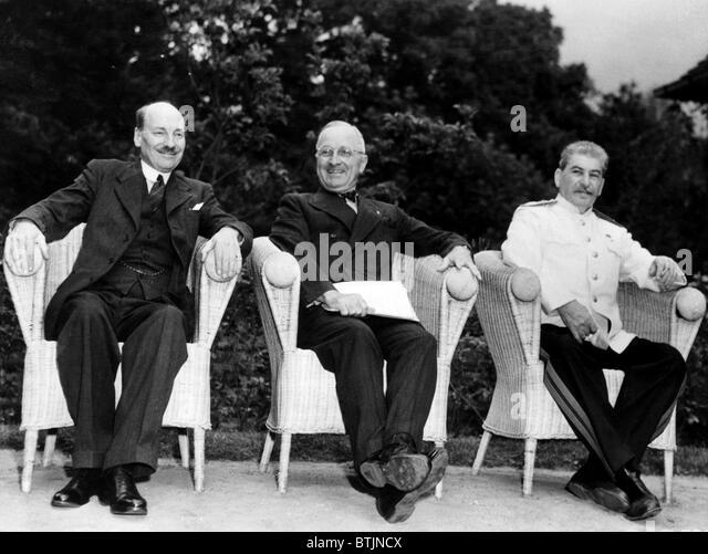 The Potsdam Conference: British Prime Minister Clement Attlee, U.S. President Harry S. Truman, Soviet General Secretary - Stock Image