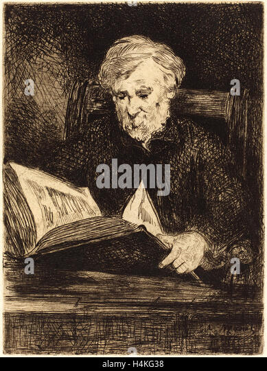 Edouard Manet, French (1832-1883), The Reader (Le liseur), 1861, etching - Stock-Bilder