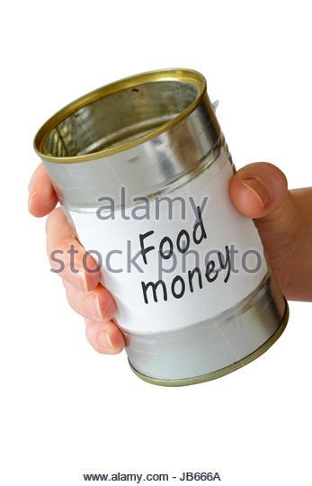 Food money, empty begging can, England, UK - Stock Image