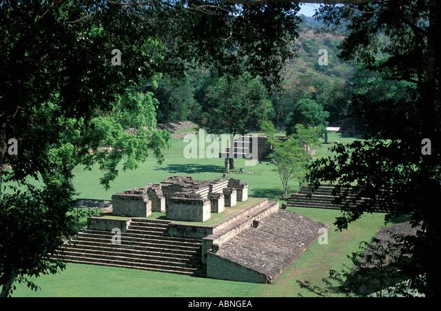 Honduras Copan Ruinas Maya ruins Temples plaza overview art religion mayan horizontal - Stock Image
