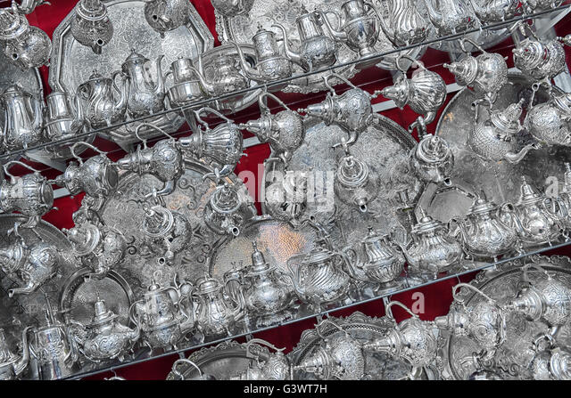 Moroccan teapots displayed in a shop. - Stock Image