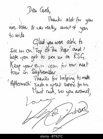 ROLLING STONES  Keith Richards letter to a fan 22 June 1966 - see image of envelope for address - Stock Image