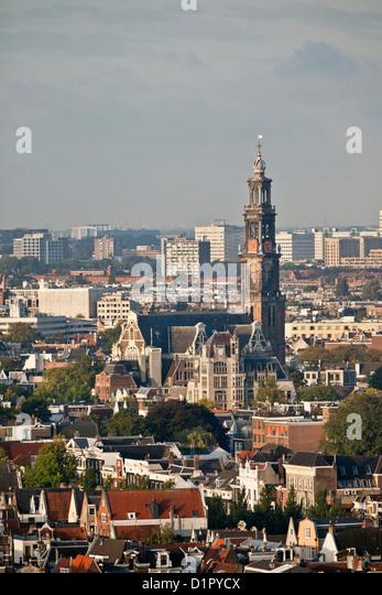 The Netherlands, Amsterdam, Aerial view from building called Toren Overhoeks. City center. Church called Westerkerk. - Stock Image