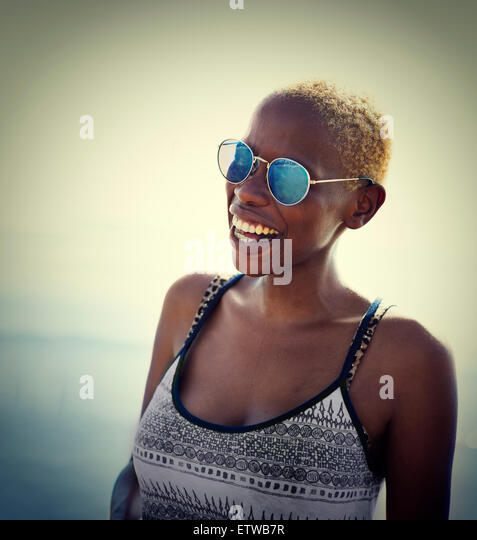 African Woman Lady Summer Beach Smiling Concept - Stock-Bilder