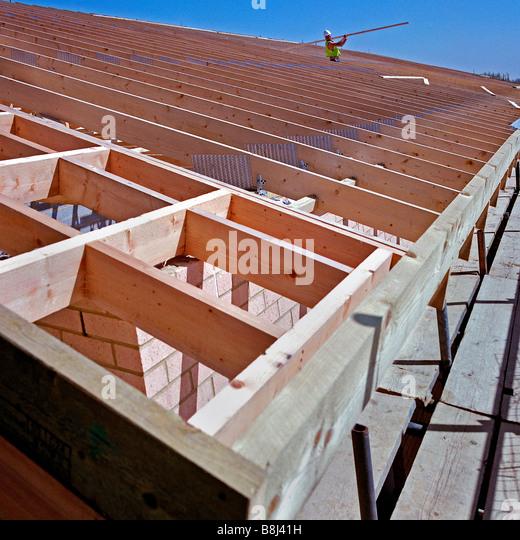 Prefabricated roof trusses stock photos prefabricated for Prefabricated roof