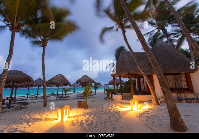 cabana style accommodation on the beach surrounded by palm trees at dawn - Stock-Bilder