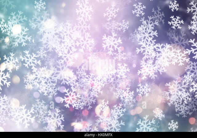 Decorative Christmas background with snowflakes and bokeh lights - Stock Image