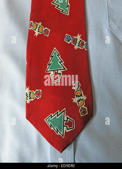 Interesting vintage Xmas Festive red tie, male neckware in silk - Stock Image
