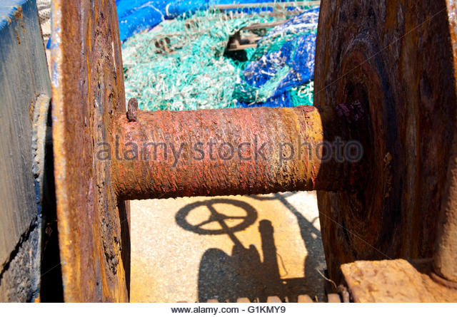 Arenys de Mar port, oxidized objects, Maresme, Barcelona, Catalonia, Spain - Stock Image