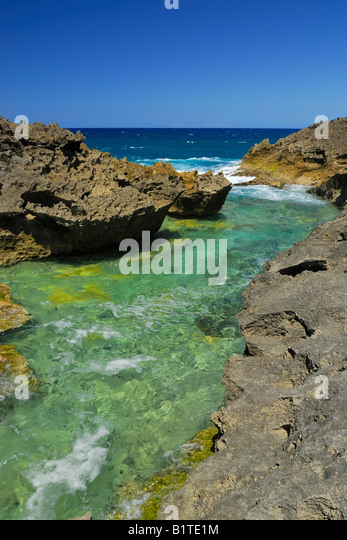 The rough coast at Punta Marchiquita near the small town of Los Molinos at the north coast near Manati, Puerto Rico - Stock Image