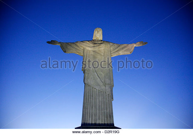 The statue of Christ the Redeemer on top of the Corcovado mountain, Rio de Janeiro, Brazil, South America - Stock Image