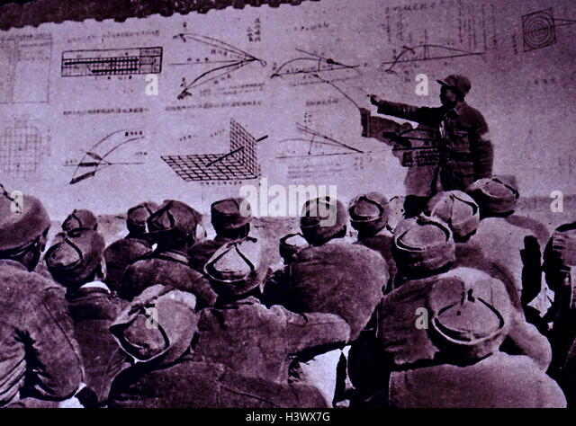 Photograph taken during a gunnery class in Communist China. Dated 20th Century - Stock Image